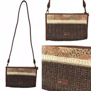 SakRoots Basket Woven Boho Crossbody Bag Purse